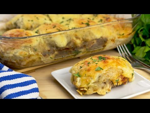 Meatballs and potatoes with bechamel delicious and cheesy you must try these