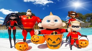 Incredibles Family Halloween Trick or Treating with Barbie - Episode 14