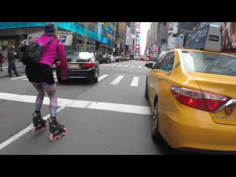 Asha fast street skating into Times Square May 2016