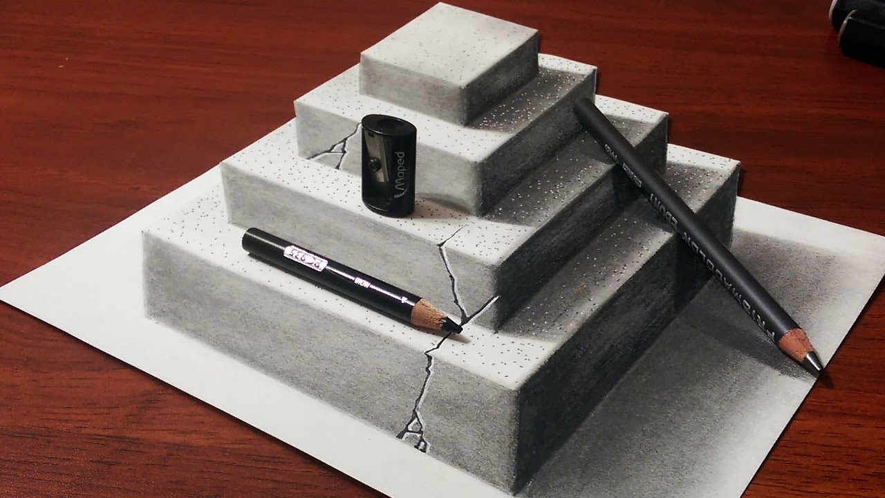 how to make a 3d concrete pyramid pencil drawing youtube