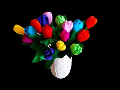 Beautiful Lifelike Crepe Paper Tulips .. D.I.Y made EASY ..