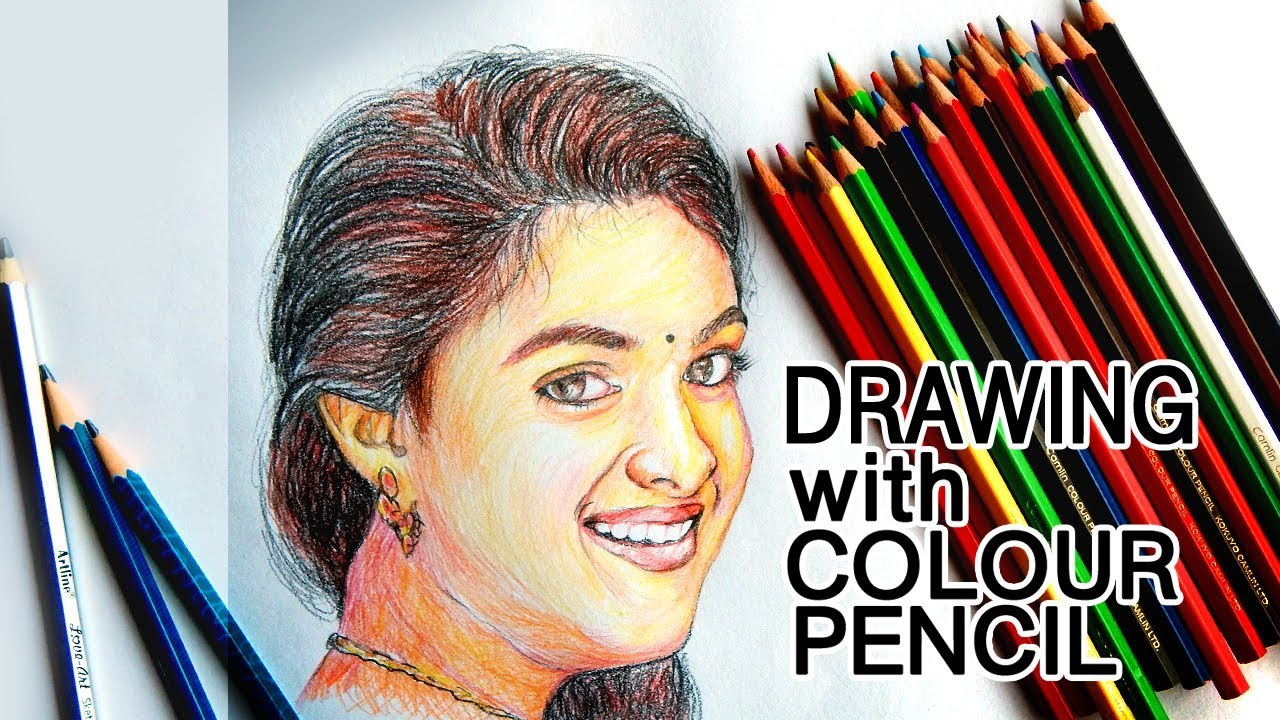 Drawing keerthi suresh with colour pencil j7 art