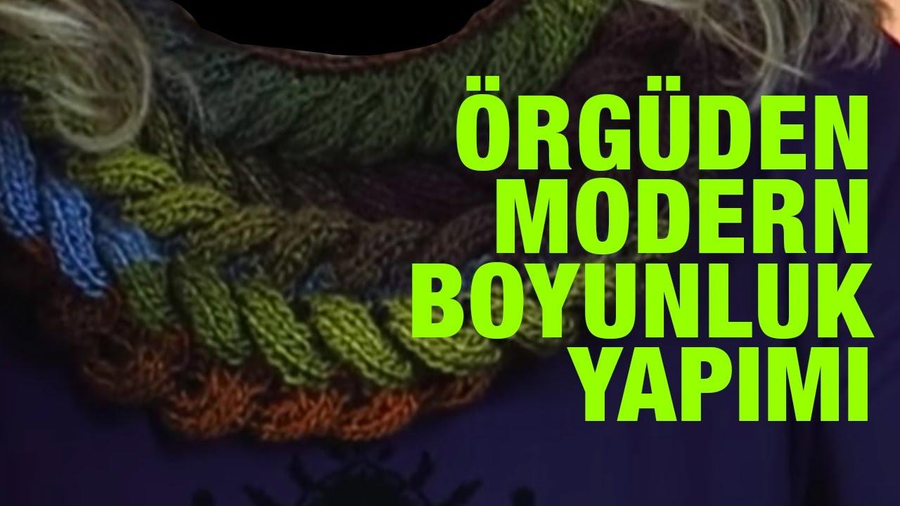 Hasır Örgü Modeli Boyunluk Yapılışı Anlatımlı Türkçe Videolu