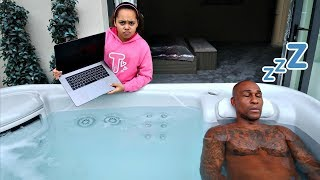 DAD'S MACBOOK PRO IN OUR HOT TUB PRANK!!