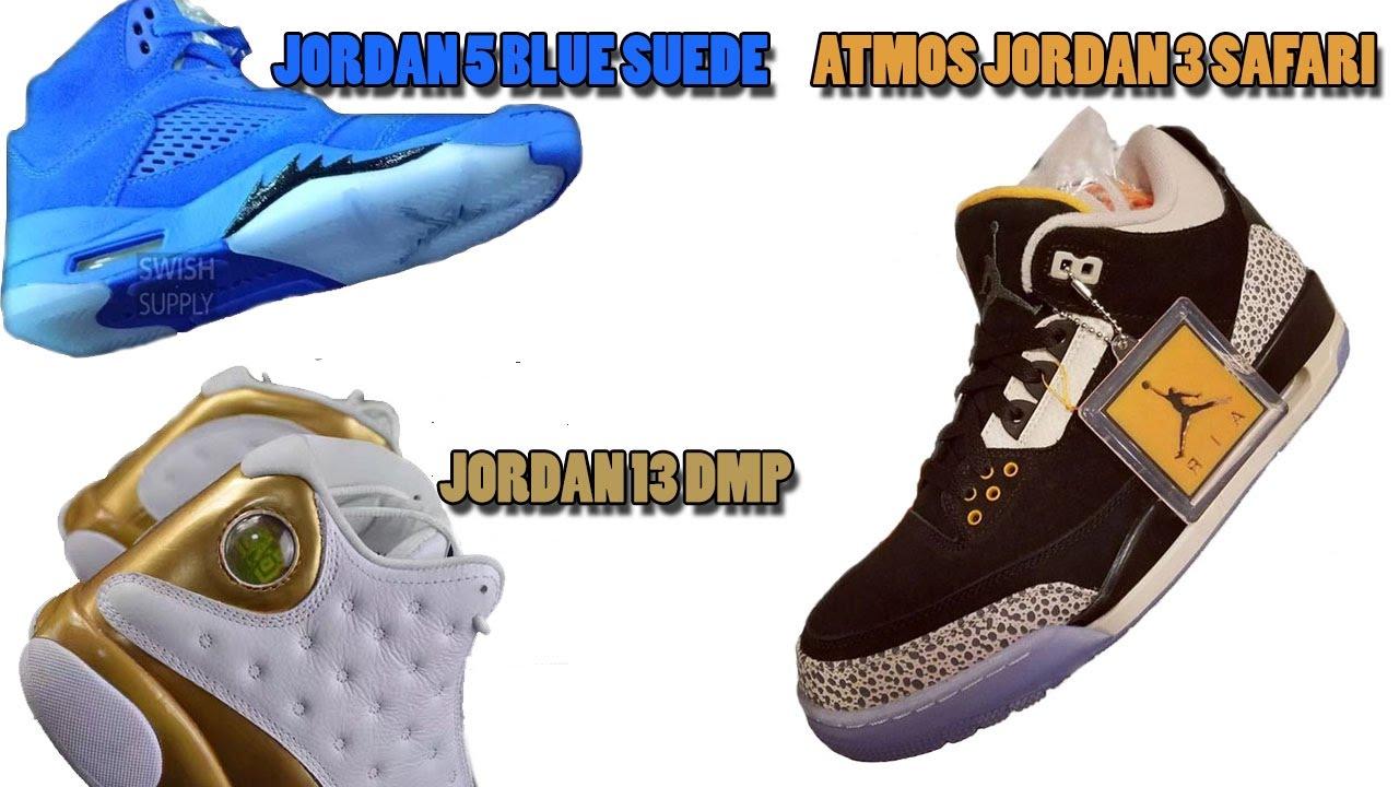 buy popular ad369 6b91d Air Jordan 5 Blue Suede, Jordan 3 Atmos Safari, Jordan 13 DMP and More