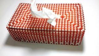 পুতির টিস্যু বক্স/ How to make beaded tissue box/pearl beaded tissue box/Unique design tissue box