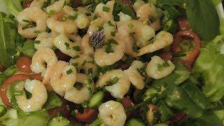 Вкусный салат с королевскими креветками!