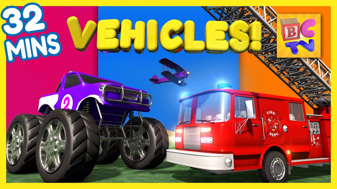 Educational Vehicles Video Collection for Kids | Vol 1 | Fire Truck, Dump Truck, Monster Truck & More preview