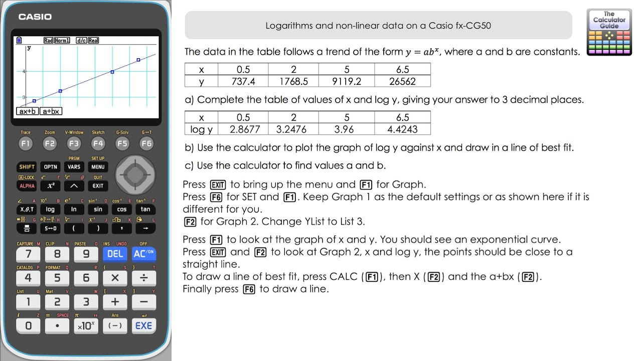 Logarithms And Non-Linear Data On A Casio fx-CG50 Graphic Calculator