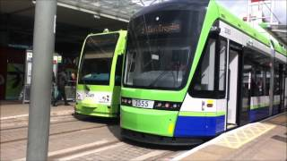 New Tramlink Variobahn Tram 2555 at East Croydon Tram Stop before departing for Therapia Lane