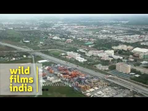 Bird's eye view of Bangkok city