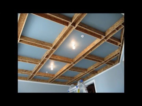 Coffered ceiling build youtube for How to build a box beam