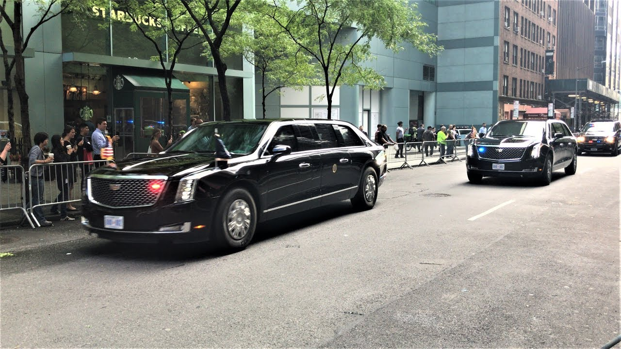 United States President Trump Presidential Motorcade With His Brand