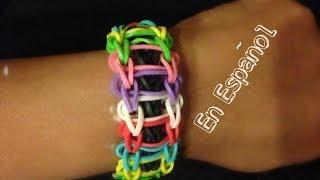 Repeat youtube video Rainbow Loom en ESPAñOL  Pulsera de Gomitas Escalon DIY - Ladder Bracelet