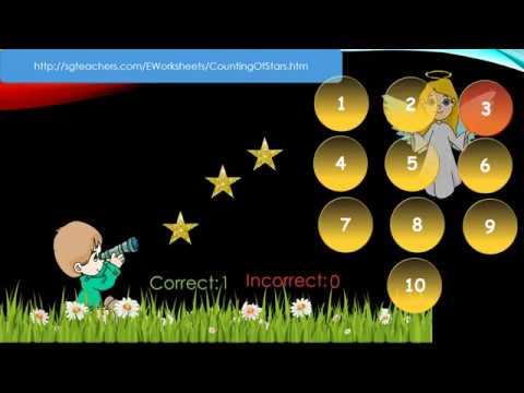 Preschool/Grade 1/kindergarten   - Numbers to10 (Counting of Stars) - math online worksheet