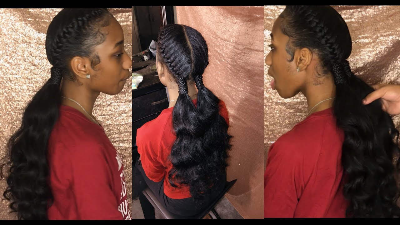 Two Goddess/Under Braids w/ Curly Ponytail Tutorial - YouTube