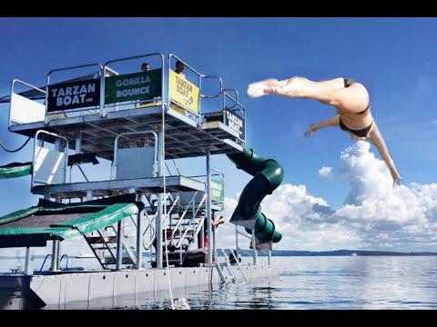 Trampoline Boat Diving!