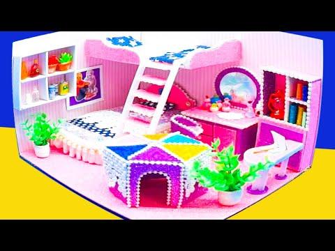 DIY Miniature Cardboard House #34 purple bathroom, kitchen, bedroom, living room for a family