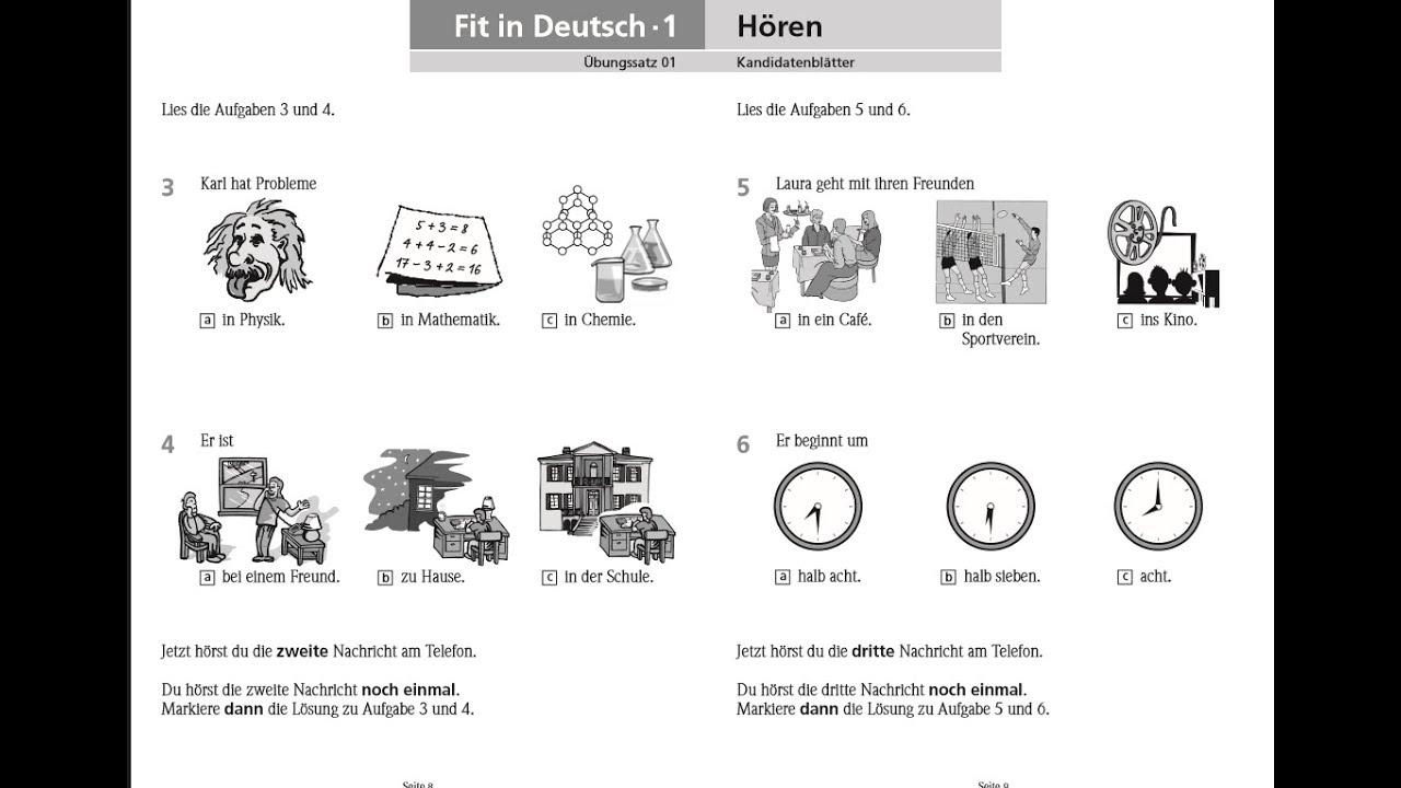 German Exam A1 Listening Part 1 Texts 2017 Youtube