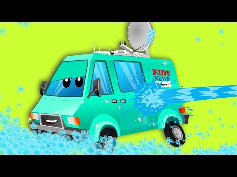 Thumbnail: News van | car wash | cartoon special street vehicles | video for kids