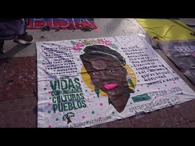 Barcelona 12/05/2021.- Solidaritat amb Colòmbia i la Guàrdia Indígena