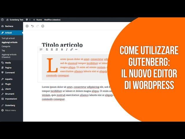 Come utilizzare il nuovo editor Gutenberg su WordPress;È più facile usare Gutenberg con questo plugin per WordPress;Perché non usare Elementor, Divi o altri page builder per scrivere articoli su WordPress;Le nuove funzioni dell'editor Gutenberg su WordPress 5.7;WordPress 5.6: tutte le novità dell'editor Gutenberg;WordPress 5.5: tutte le novità e quello che devi sapere sulla nuova versione;Le novità in arrivo su WordPress 5.4: quello che devi sapere;Le nuove funzionalità di Gutenberg su WordPress 5.3