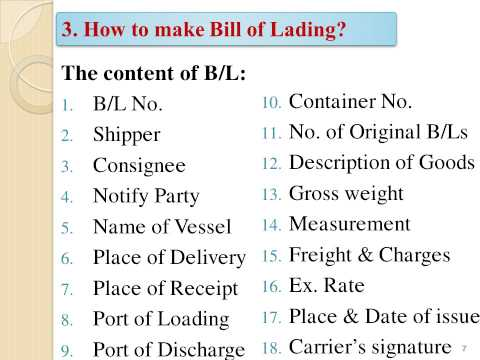 BILL OF LADING   LAN TRAN