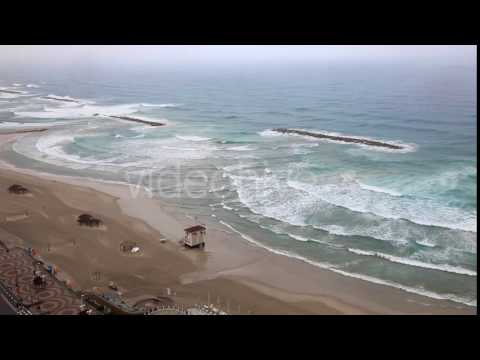 The Beach Of Tel Aviv In The Rain - Stock Footage | VideoHive 14961010