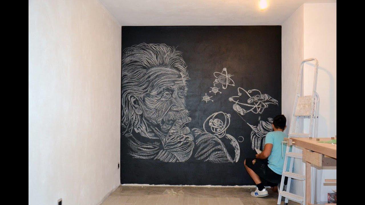 Murales albert einstein disegno con gessetti su vernice lavagna ...
