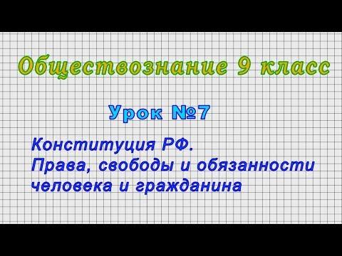 Обществознание 9 класс (Урок№7 - Конституция РФ. Права, свободы и обязанности человека.)