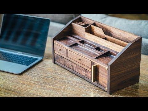 DIY Mid Century Modern Desk Organizer || How To Build - Woodworking