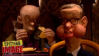 Michael Gove Takes Dominic Cummings for a Curry | Spitting Image