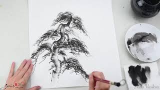 """Он-лайн обучение суми-э """"Сосна в японской живописи"""" http://online.sumie-art.ru/main"""