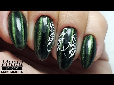 Дизайн ногтей кошачий глаз зеленый
