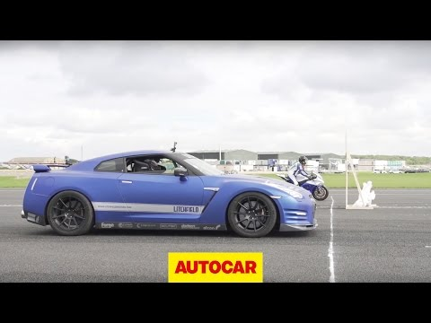 1200bhp Litchfield Nissan GT-R vs 205bhp RC Express Racing Kawasaki ZX-10R - car vs bike drag race