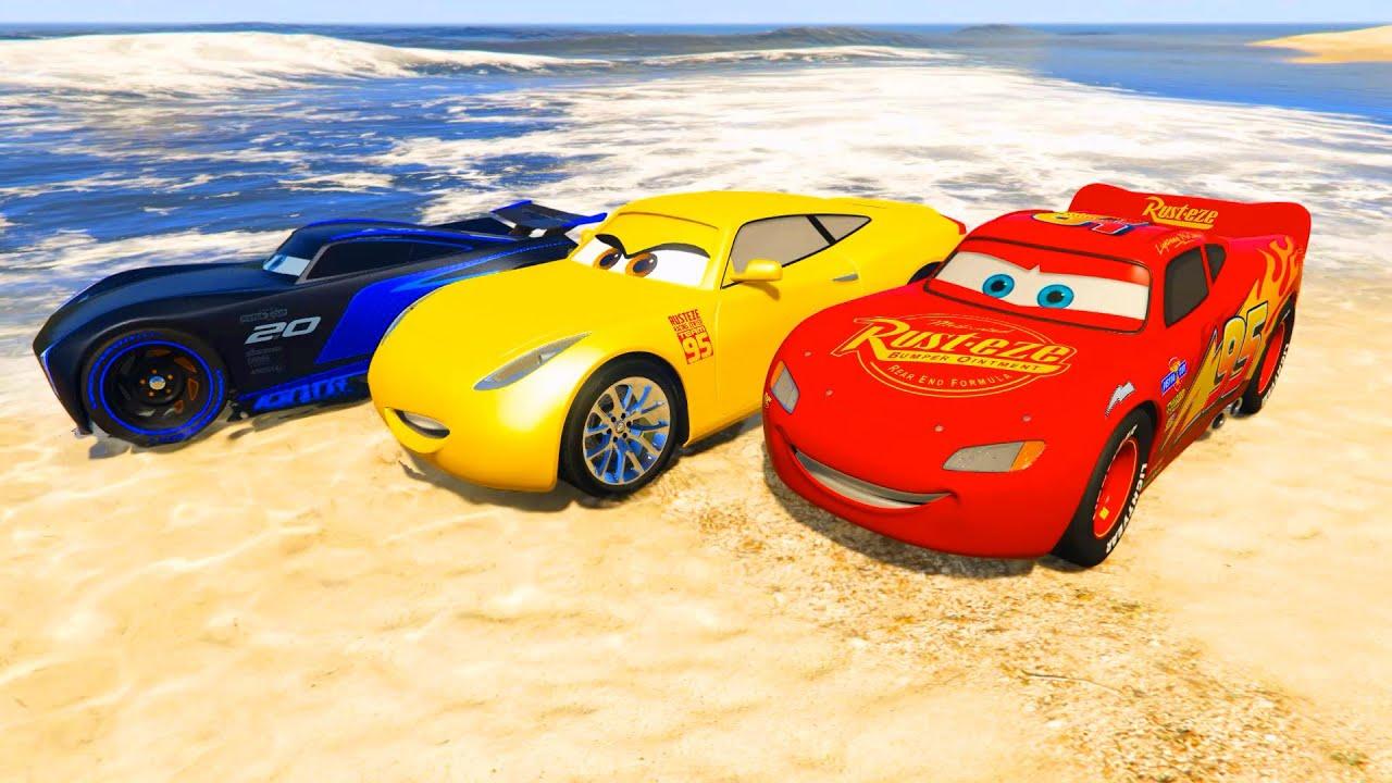 Race Cars On The Beach Lightning Mcqueen Jackson Storm Cruz
