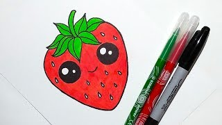 strawberry drawing draw easy drawings paintingvalley clipartmag