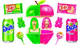 Pink Food VS Green Food Challenge | Funny Situations with Color Food by RATATA CHALLENGE