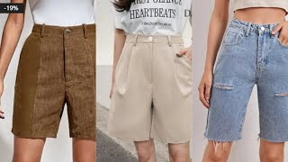 Bermuda shorts womens style casual Shein Женские шорты бермуды в интернет магазине Шейн