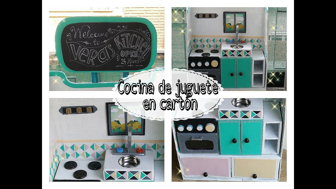 Cocina de juguete con cart n para ni os parte 1 for Cocina para ninos
