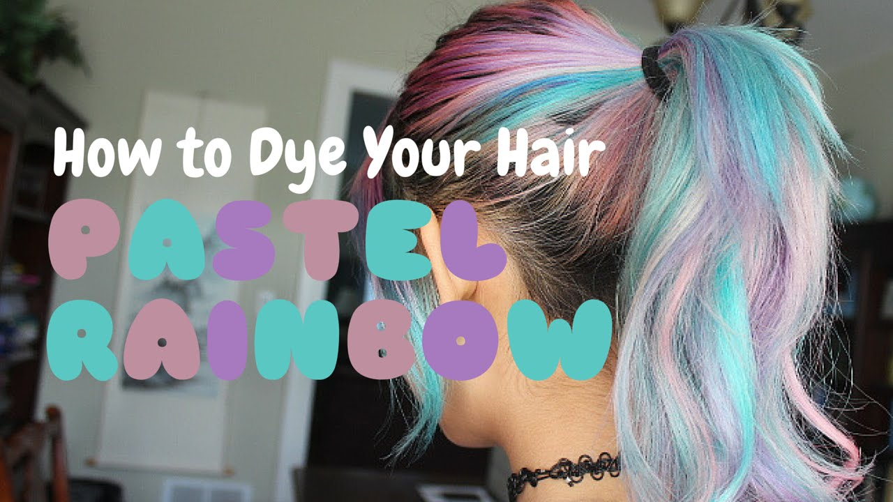 pastel rainbow hair dye tutorial