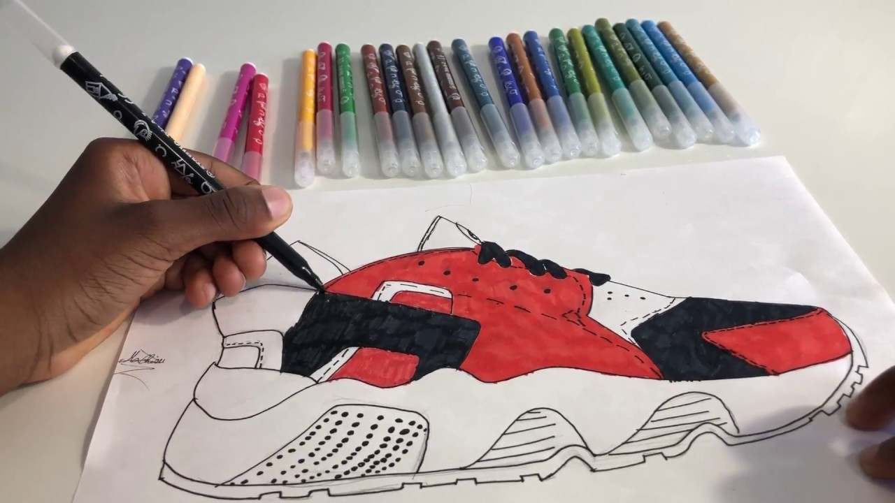 finest selection a0bd4 ebd20 Watch Mathieu 10, Drawing And Coloring NIKE AIR HUARACHE (Red Black And  White)