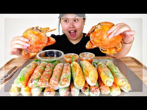 DUNGENESS CRAB + SPRING ROLLS MUKBANG 먹방 | EATING SHOW
