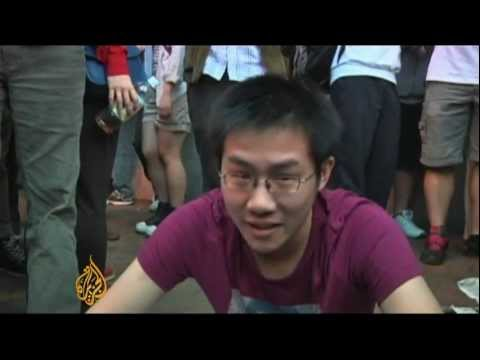 Chinese protest against Hong Kong's new leader