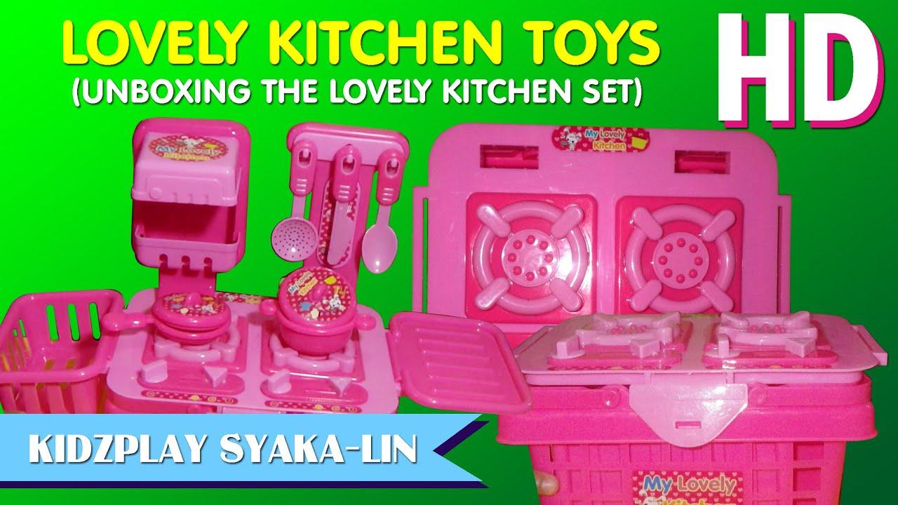 Mainan masak masakan dapur lovely kitchen set unboxing for Kitchen set mainan