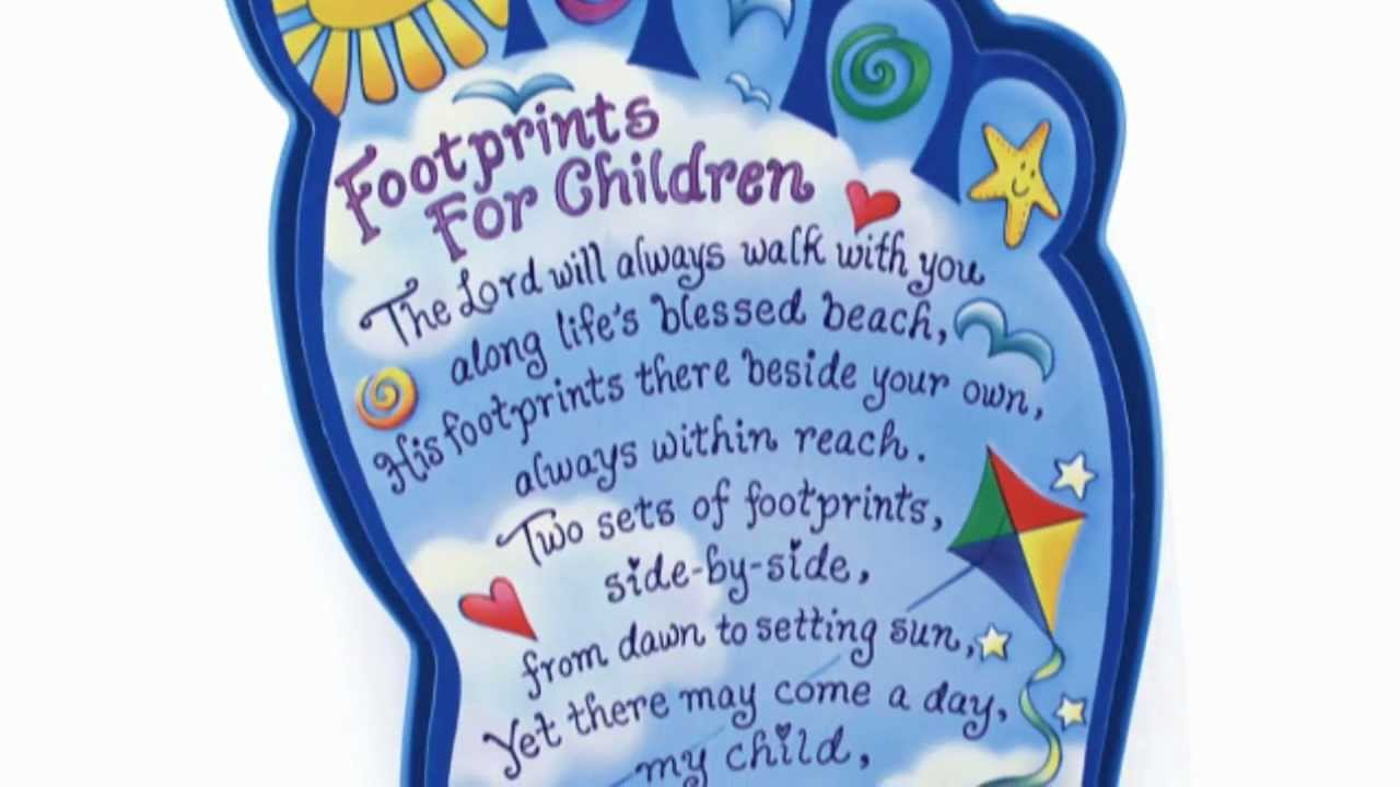 Footprints For Children Plaque Youtube