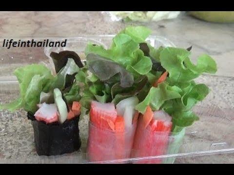Hydroponic lettuce in spring rolls, taste test.