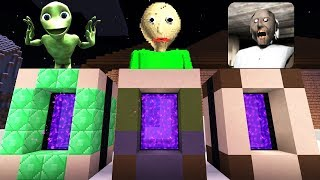 DO NOT Enter These PORTALS in Minecraft PE (Granny Horror, Baldi's Basics, Dame Tu Cosita)