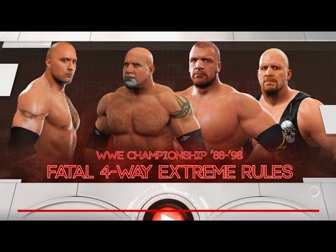 Stone Cold Steve Austin vs.Triple H vs. Bill Goldberg vs The Rock-WWE Champion-Fatal 4 Way -WWE-2K17