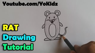 How to draw a cartoon rat / mouse for kids super easy and step by step